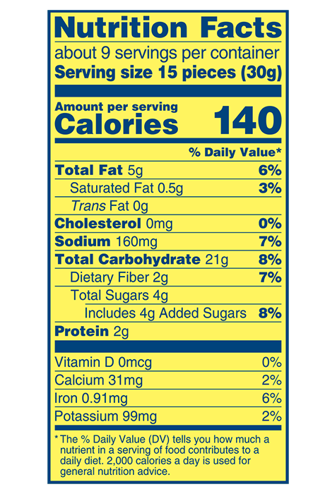 Wheat Thins Sundried Tomato and Basil Whole Grain Wheat Crackers Nutrition Facts